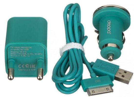 Apple 2 USB 2,1А, дата-кабель с разъемом 30-pin для Apple ,бирюзовый