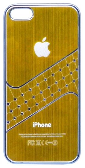 Apple Бампер пластик,клетки-стразы 4/4S (61-1)