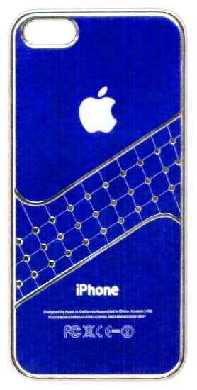 Apple Бампер пластик,клетки-стразы 5/5S (61-2)