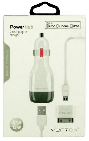 Vertex 2*USB 3,1 A с кабелем micro USB и адаптером для iPad 2/3