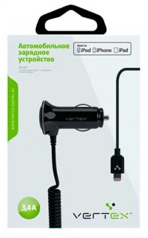 Vertex USB, 2,4+1А, разъем для iPhone 6/6Plus и iPhone5/5S/5C, iPad, iPad mini MFI, черн