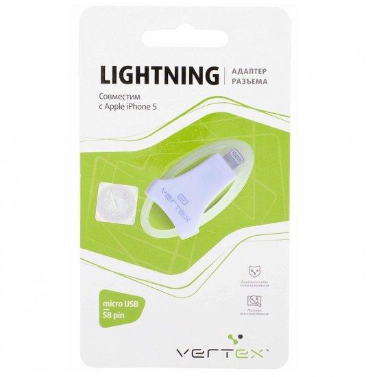 Vertex Адаптер для iPhone 5 в силиконовом кольце,с разъемами micro USB-s8-pin