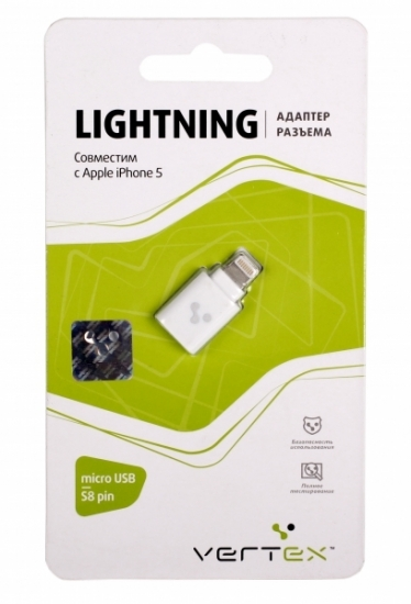 Vertex Адаптер для iPhone 5,с разъемами micro USB-s8-pin