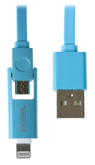 Partner USB 2.0 - microUSB-Apple 8pin 2-в-1 1м 2.1A плоский