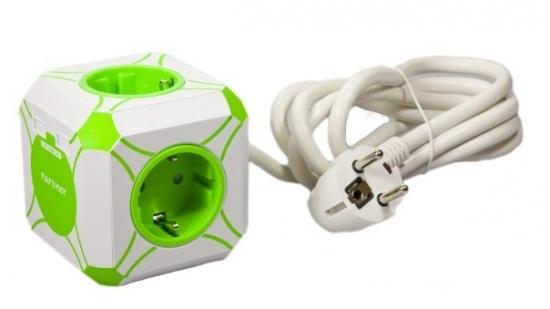 Partner Сетевое USB зарядное устройство с сетевым удлинителем miniCUBE, 2USB 2.4A, 4розетки, 16А